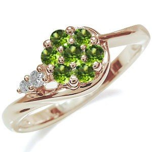 超大特価 フラワー 婚約指輪 格安 花 エンゲージリング 10金 ペリドットリング, イバラシ 805ee343