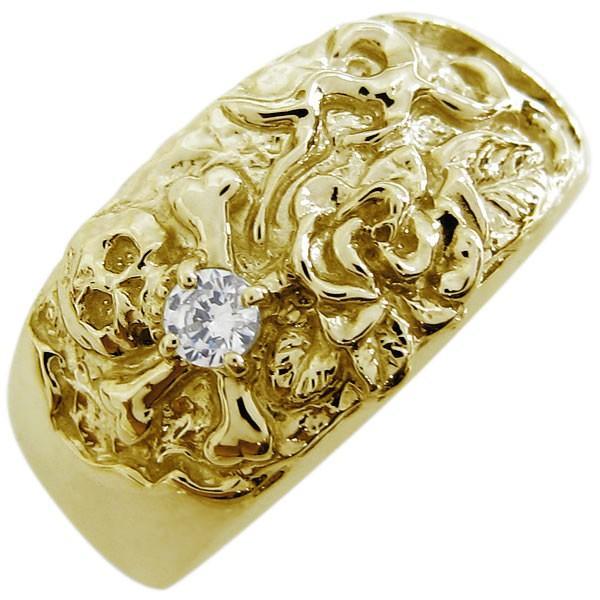 【国内即発送】 ダイヤモンド スカル バラ リング 骸骨 メンズリング 指輪 18金, 腕時計ギフトのパピヨン 434713c7