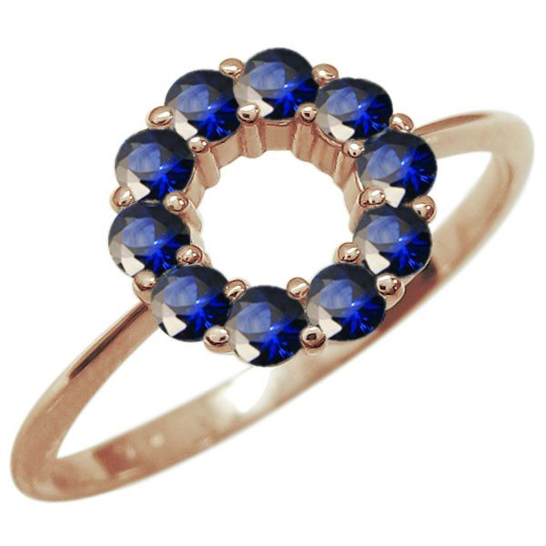 【ファッション通販】 サファイア エタニティーリング 指輪 K10 サークルリング, 西洋美術屋 54a45b60