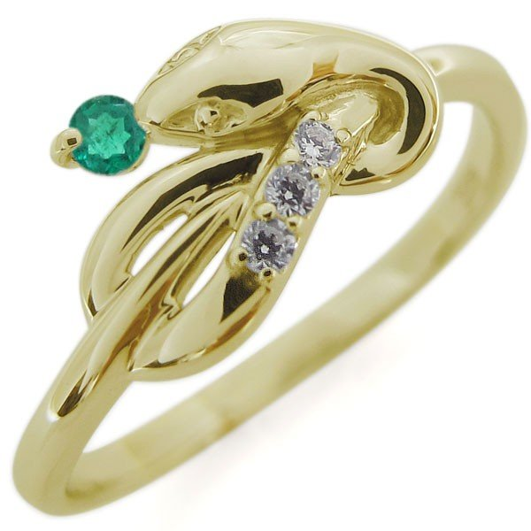 【数量は多】 ピンキーリング エメラルド スネークリング K18 指輪, Anniversary Style ce6cb055