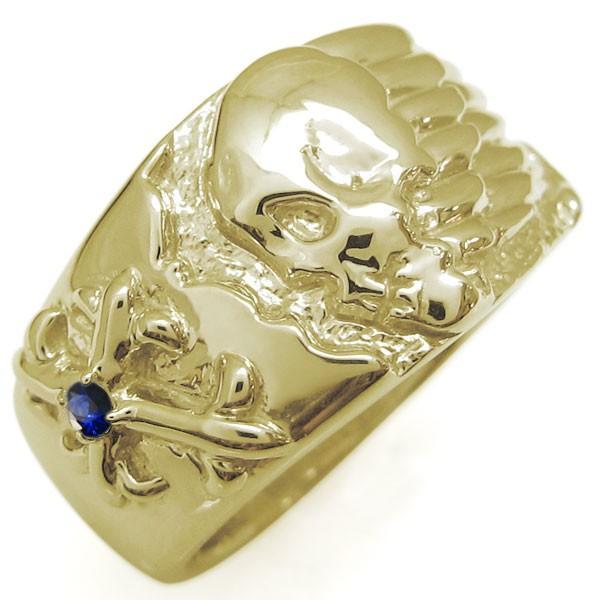 登場! 十字架 リング 指輪 18金 メンズ 髑髏 サファイアリング, チロルwebshop c0360b68