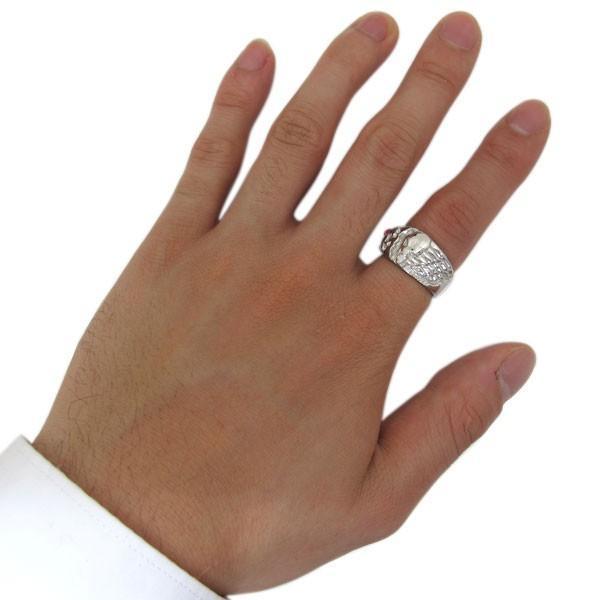 誕生石 ドクロ リング 骸骨 指輪 K10 メンズリング|plejour|02