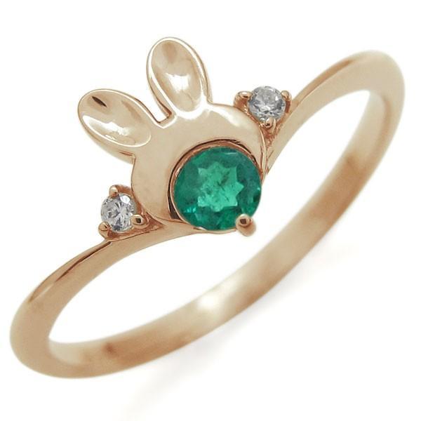 【まとめ買い】 18金 ウサギ エメラルド 指輪 レディース ラビット V字リング, Select Shop Makana a3c6e2a1