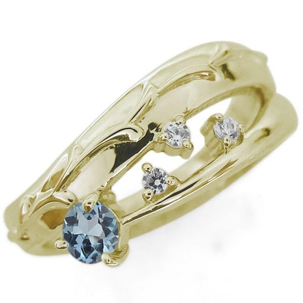 セール 登場から人気沸騰 アクアマリンサンタマリア 指輪 アンティーク調 唐草 ピンキーリング 10金, BLUE FACTORY ブルーファクトリー d5d5e233