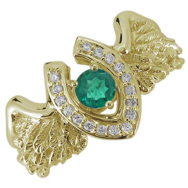 想像を超えての メンズ リング 馬蹄 羽根 フェザー エメラルド 5月誕生石 10金 指輪, 着物クリーニングきもの工房なぎさ e6a81088