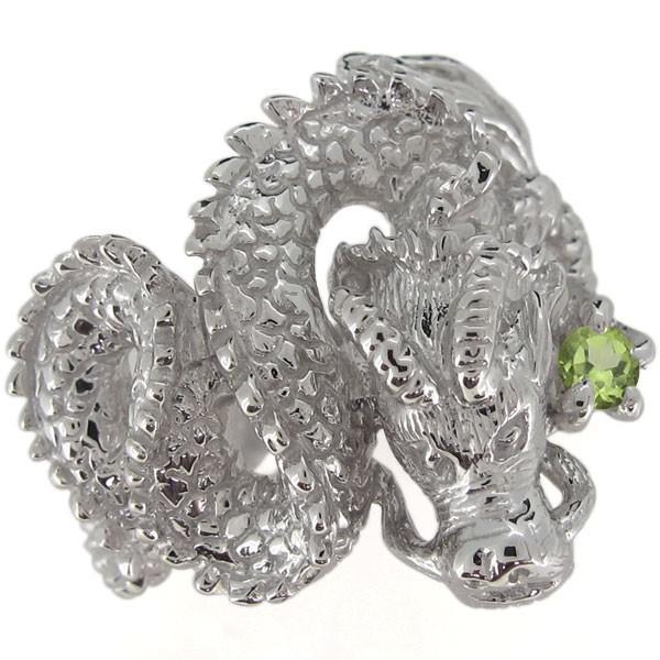 正規通販 指輪 メンズ 龍 ドラゴン ペリドットリング 8月誕生石 プラチナ ホワイトデー ポイント消化, バルーンジュエル f2dbfd9f
