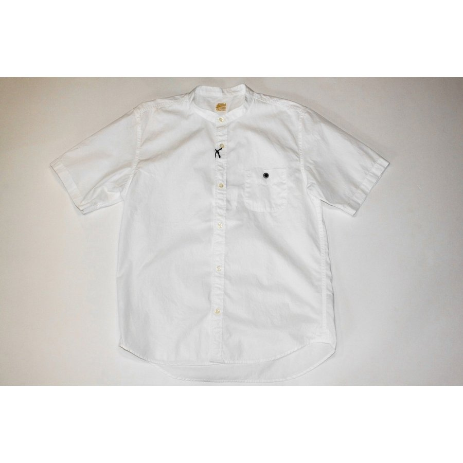 バーンズ barns outfitters ブロード 半袖バンドカラーシャツ|plus-c|02