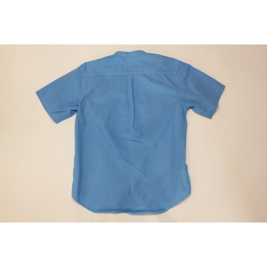 バーンズ barns outfitters ブロード 半袖バンドカラーシャツ|plus-c|05
