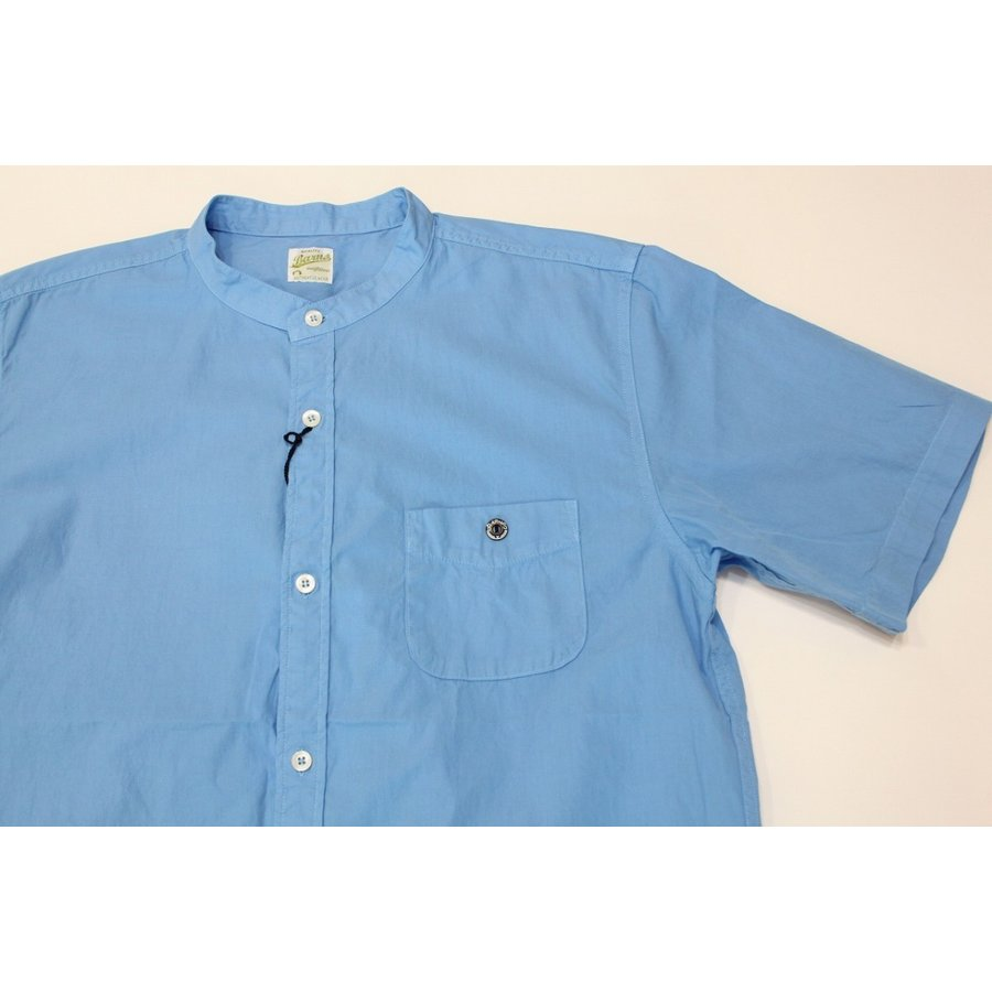 バーンズ barns outfitters ブロード 半袖バンドカラーシャツ|plus-c|06