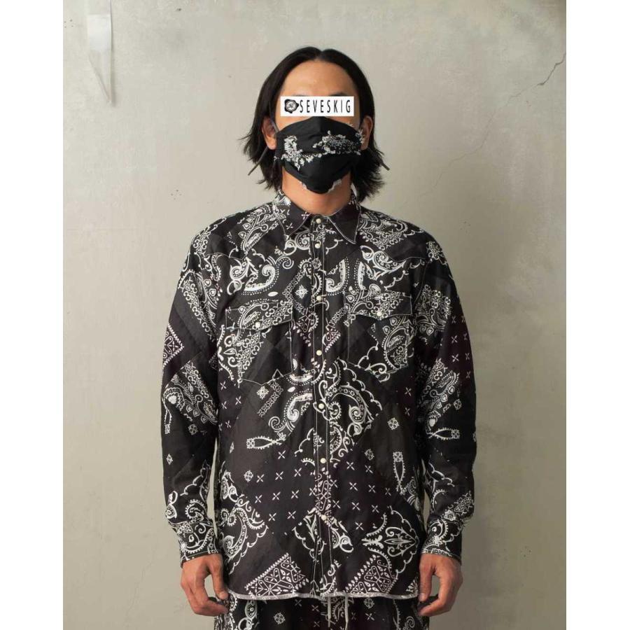 SEVESKIG(セヴシグ) BAN-DANA P.W SHIRT バンダナパッチワークシャツ plus-c