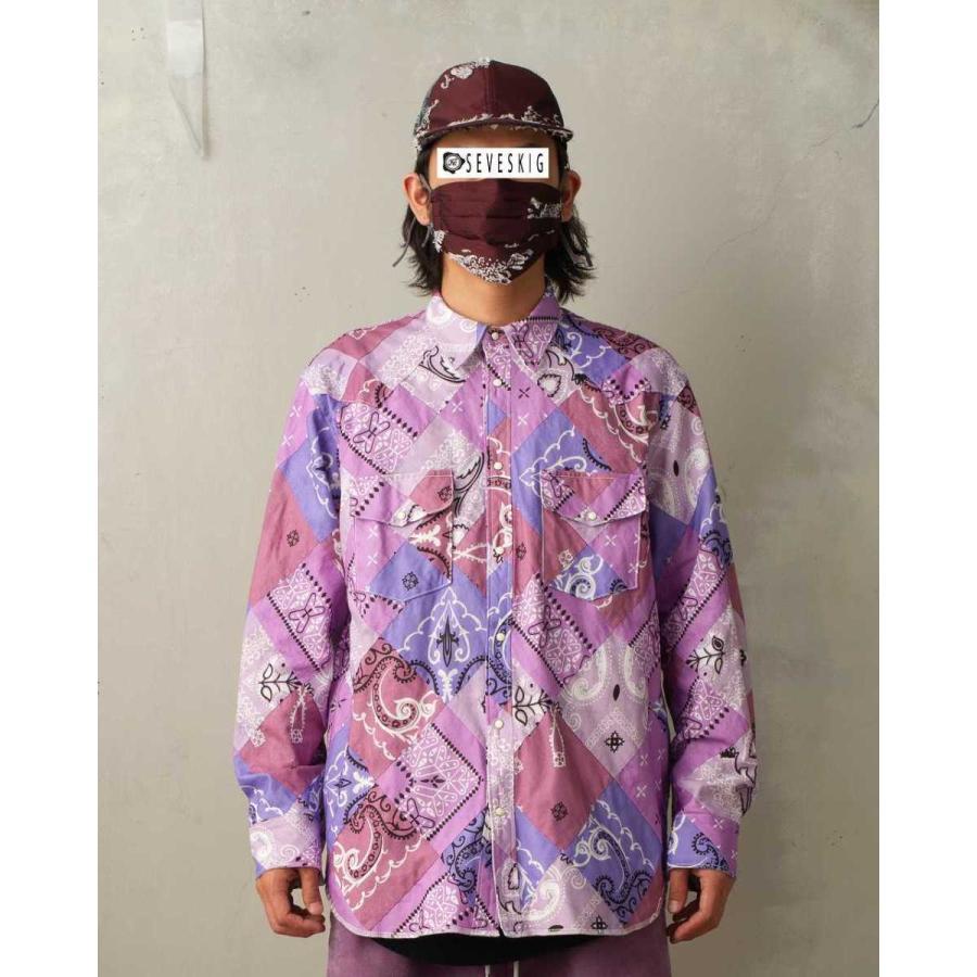 SEVESKIG(セヴシグ) BAN-DANA P.W SHIRT バンダナパッチワークシャツ plus-c 05