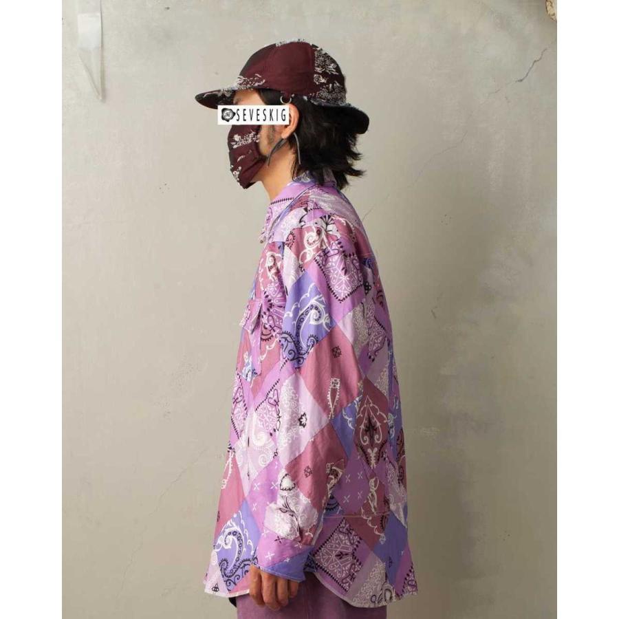 SEVESKIG(セヴシグ) BAN-DANA P.W SHIRT バンダナパッチワークシャツ plus-c 06