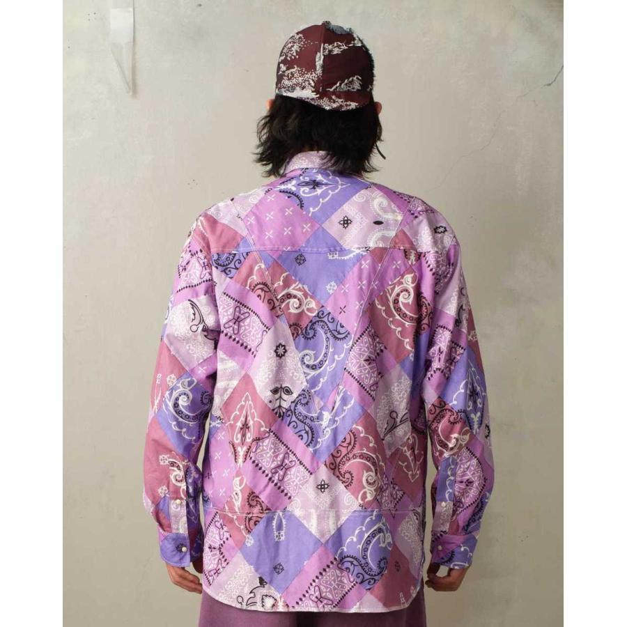 SEVESKIG(セヴシグ) BAN-DANA P.W SHIRT バンダナパッチワークシャツ plus-c 07