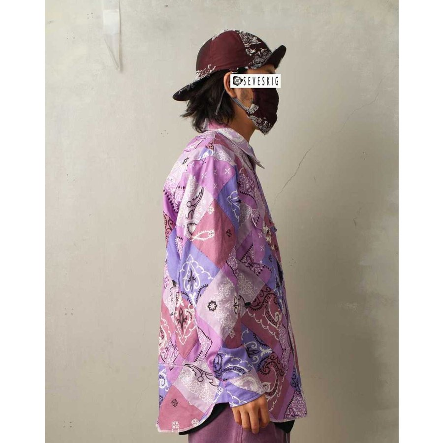 SEVESKIG(セヴシグ) BAN-DANA P.W SHIRT バンダナパッチワークシャツ plus-c 08