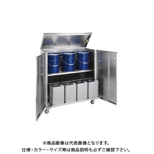 直送品 サカエ ステンレス一斗缶保管庫 一斗缶・ペール間兼用タイプ・移動式 SU4-ITKNBR