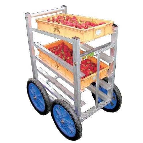 ハラックス 愛菜号 アルミ製 いちご収穫用ワゴン SW-514 5段タイプ 防J 【送料無料】 【代引不可】