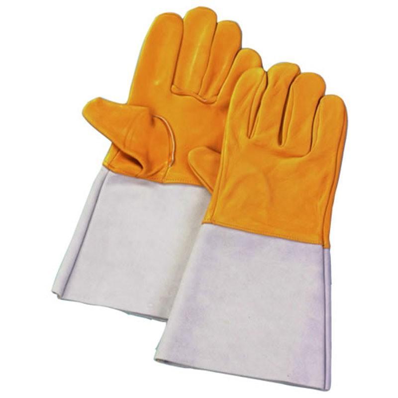 【60双】 牛床革 手袋 コンビ溶接 5本指 No75 表革 溶接 作業用 革 皮 工場 現場 熱T 【代引不可】