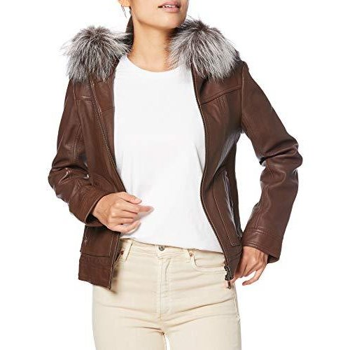 [アヴィレックス]  Fur jacket HOODFUR PATCHLEATHER HOODY JACKET 6271021 Ladies 55 BROWN Japan S (equivalent to Japan size S)