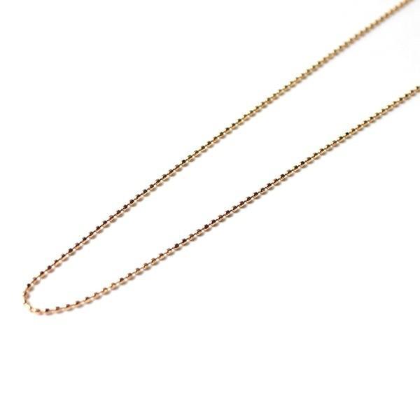 【はこぽす対応商品】 18金ピンクゴールド カットボールチェーンネックレス 42cm 1g, EsuonAngel a7db4b90