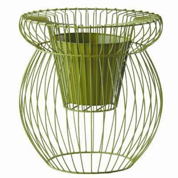 フラワーバスケット 植木鉢カバー スケルトンα 高さ72cm アイアン&樹脂製ポット 穴無 グリーン 緑 ガーデニング用品 園芸