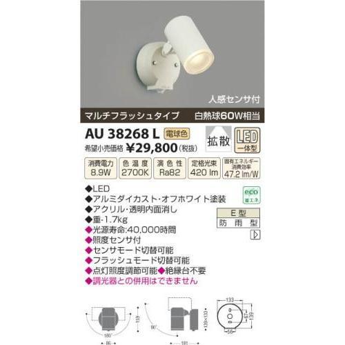 コイズミ照明(KOIZUMI) LEDアウトドアスポット【電気工事必要】 LED(電球色) 白熱球60W相当 AU38268L