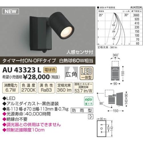 コイズミ照明(KOIZUMI) LED防雨型スポット【電気工事必要】 LED(電球色) 白熱球60W相当 AU43323L
