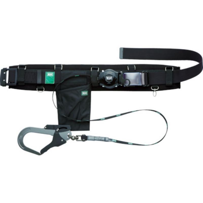 KH 補助帯付 アリールロック式 タフアルミ 自在環 安全帯 黒 HJA01-K