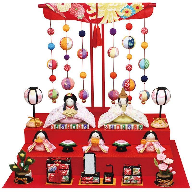 【送料無料】雛人形「色彩 雛 5人揃い 几帳付」手作りちりめん細工 マンションサイズ コンパクト 桃の節供