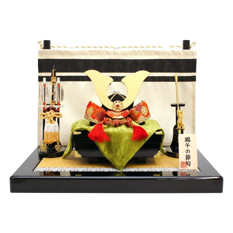 【送料無料】子供(こども)の日 陣幕付兜飾り手作りちりめん細工 端午の節句飾り・五月人形 なごみの和雑貨