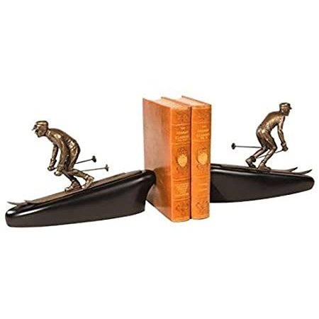 EuroLux Home Mountain Bookends Bookend Rustic Down Hill Skier Winter Olympi