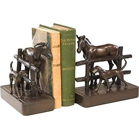 EuroLuxHome Bookends Bookend Equestrian Dog Horse Field Separated by Fence