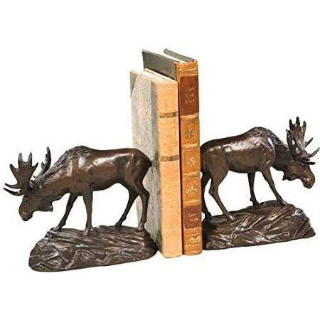 EuroLux Home Bookends Bookend Moose On Rock Cast Resin Detailed Hand-Painte