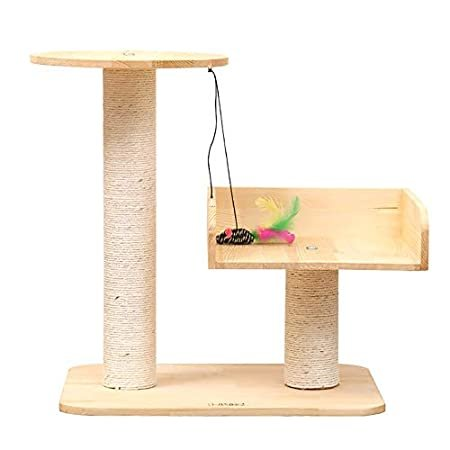 Cat Condo Tower with Cat Bed and Scratching Post, Dangling Toys Cats Activi