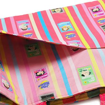 レッスンバッグ 大きめ 小学校 通学カバン 通学バッグ 絵本カバン ポケットつき かわいい 女の子 エメラルドグリーン ピンク ストライプ チェック pop-collection 11