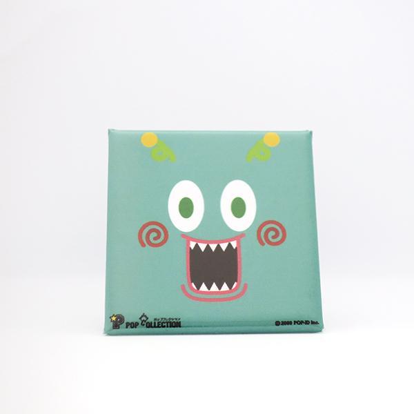 置物 かわいい 小さい 缶バッジ 缶バッチ 缶バッヂ スタンドクリップ付き スクエア 四角 緑 グリーン ミドビヨ|pop-collection