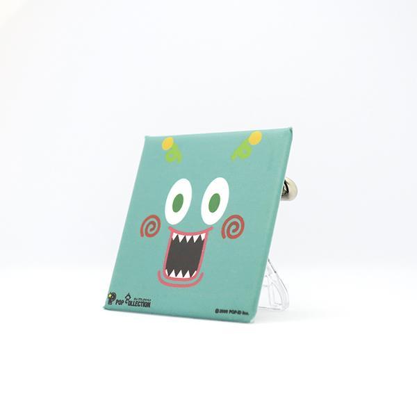 置物 かわいい 小さい 缶バッジ 缶バッチ 缶バッヂ スタンドクリップ付き スクエア 四角 緑 グリーン ミドビヨ|pop-collection|02