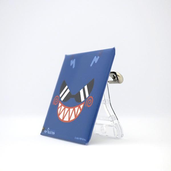 置物 かわいい 小さい 缶バッジ 缶バッチ 缶バッヂ スタンドクリップ付き スクエア 四角 青 ブルー アオビヨ pop-collection 02