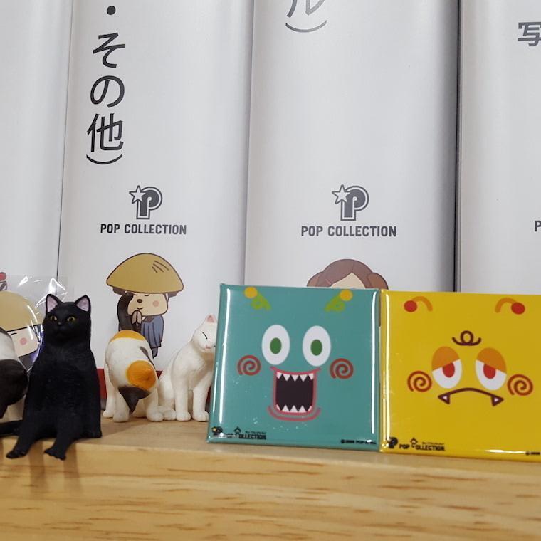 置物 かわいい 小さい 缶バッジ 缶バッチ 缶バッヂ スタンドクリップ付き スクエア 四角 青 ブルー アオビヨ pop-collection 06
