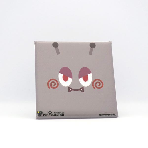 置物 かわいい 小さい 缶バッジ 缶バッチ 缶バッヂ スタンドクリップ付き スクエア 四角 グレー キャラクター マルビヨ|pop-collection