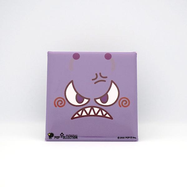置物 かわいい 小さい 缶バッジ 缶バッチ 缶バッヂ スタンドクリップ付き スクエア 四角 紫 ムラビヨ|pop-collection