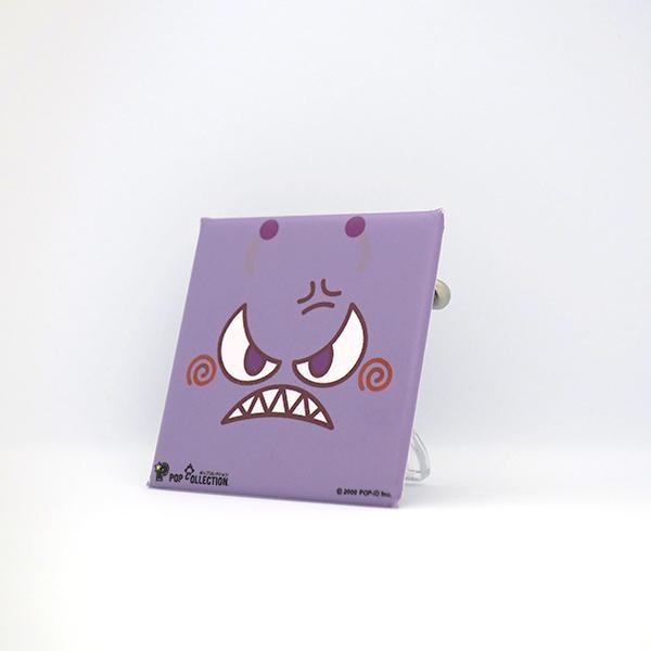 置物 かわいい 小さい 缶バッジ 缶バッチ 缶バッヂ スタンドクリップ付き スクエア 四角 紫 ムラビヨ|pop-collection|02
