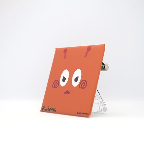 置物 かわいい 小さい 缶バッジ 缶バッチ 缶バッヂ スタンドクリップ付き スクエア 四角 オレンジ オレビヨ pop-collection 02