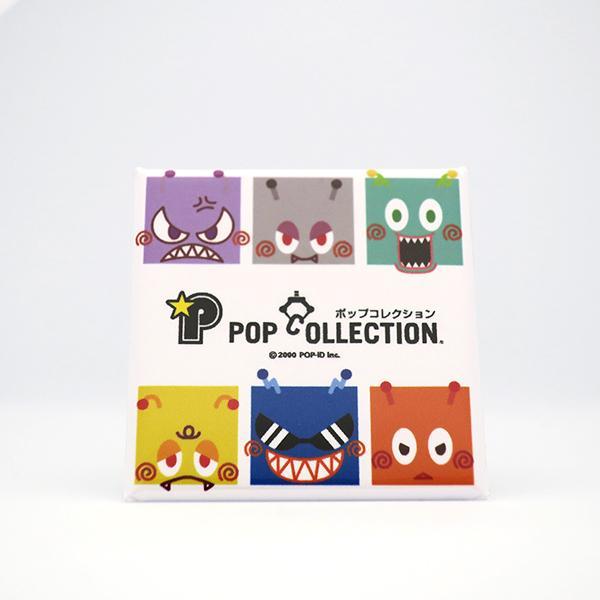 置物 小さい かわいい 缶バッジ 缶バッチ 缶バッヂ スタンドクリップ付き 飾り キャラクター スクエア 四角 ビヨ星人 pop-collection