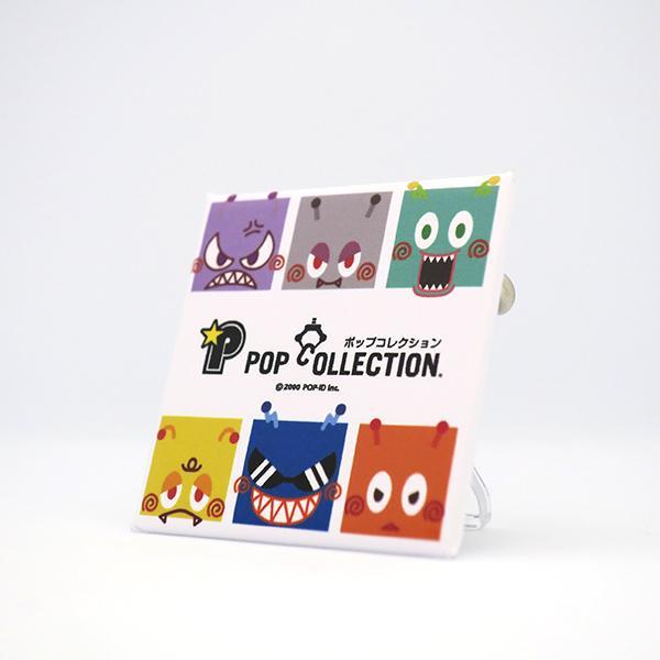 置物 小さい かわいい 缶バッジ 缶バッチ 缶バッヂ スタンドクリップ付き 飾り キャラクター スクエア 四角 ビヨ星人 pop-collection 02