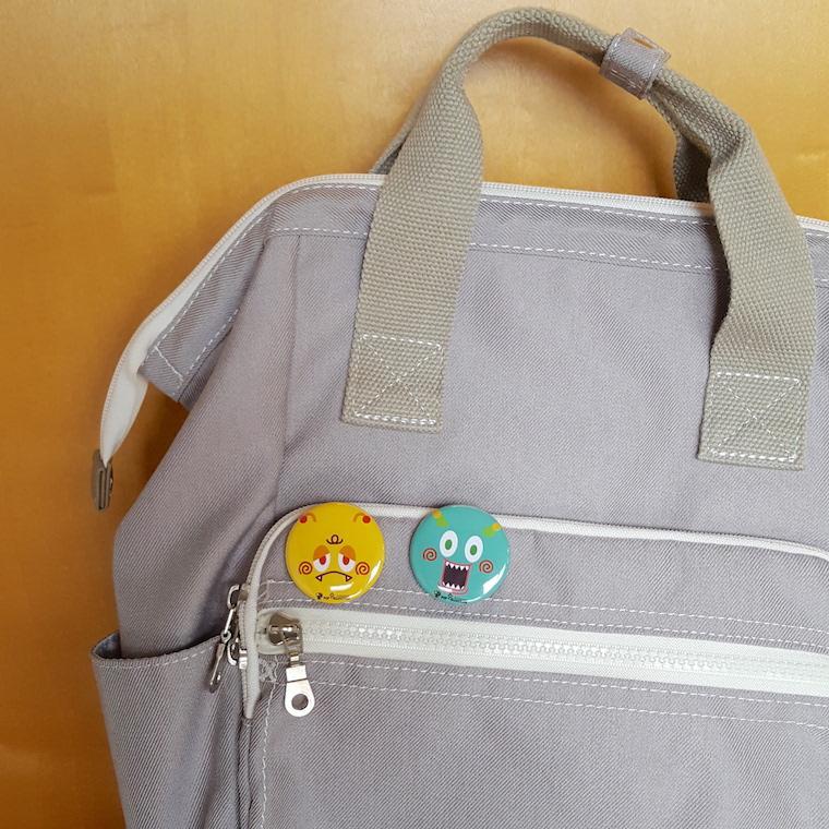 缶バッジ 缶バッチ 缶バッヂ キャラクター オリジナル シンプル 可愛い 緑色 丸型38ミリ ミドビヨ pop-collection 04