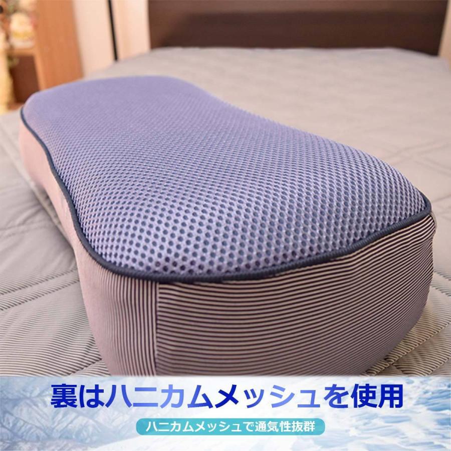 ごろ寝 枕 接触冷感 腰枕 クッション Qmax 0.42 低反発 ストライプ柄 裏メッシュ 通気性抜群 極冷 介護 節電対策 【冷たくてごろ寝・750349】 poruchan0820 06