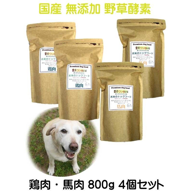 国産 無添加 自然食 健康 こだわり食材  【 お米のドッグフード 】 鶏肉・馬肉 800g 4個セット (3.2kg)  ドックフード (犬用全年齢対応) potitamaya-y