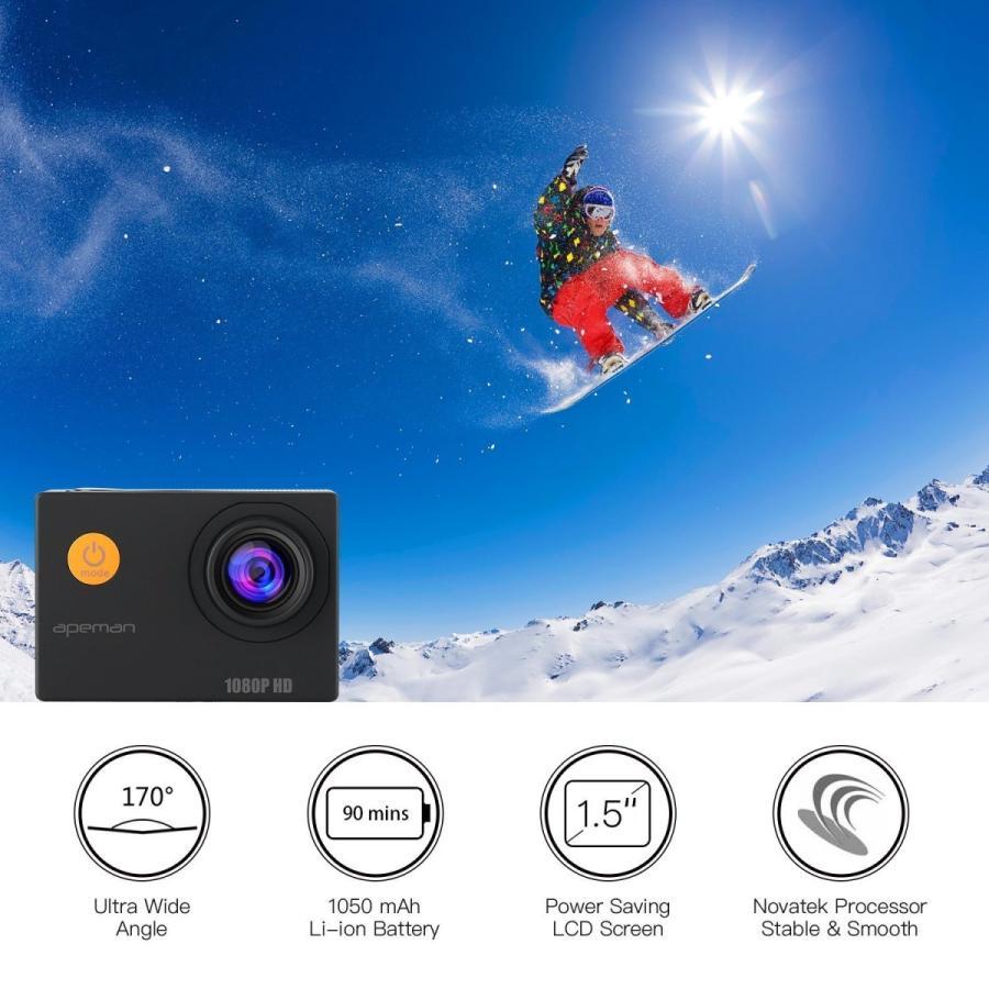 【進化版】 APEMAN A66S アクションカメラ 1080P高画質 1400万画素 HDMI出力 スポーツカメラ 2インチ液晶画面 40M 防水カメラ 170度広角レンズ アクセサリー pour-moi 04