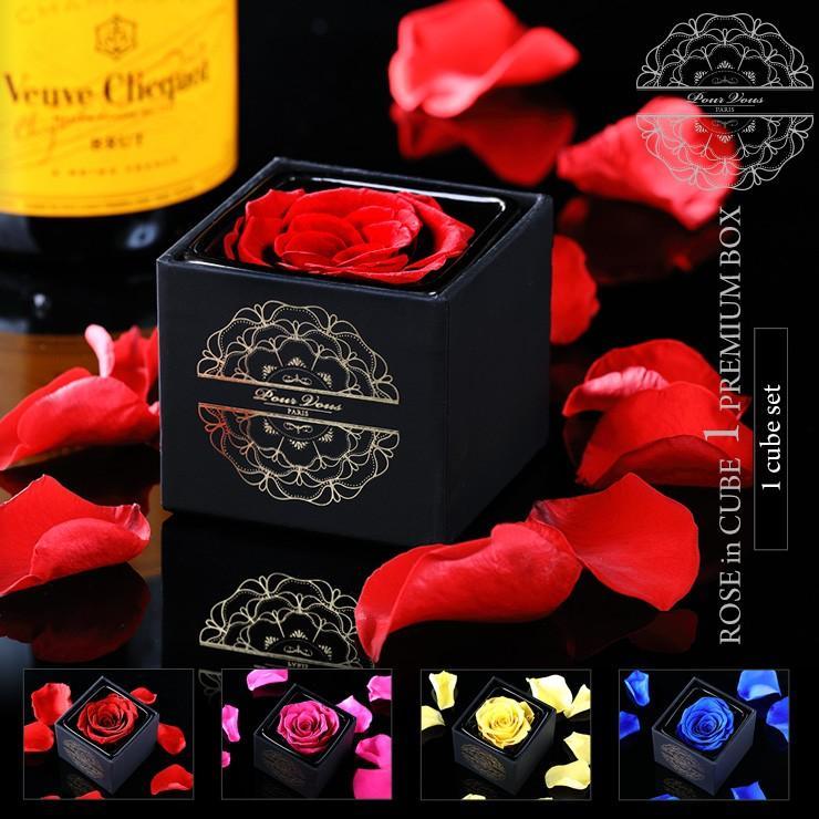 プリザーブドフラワー プレゼント ギフト 「ROSE in CUBE 1 PREMIUM BOX」|pourvousparis