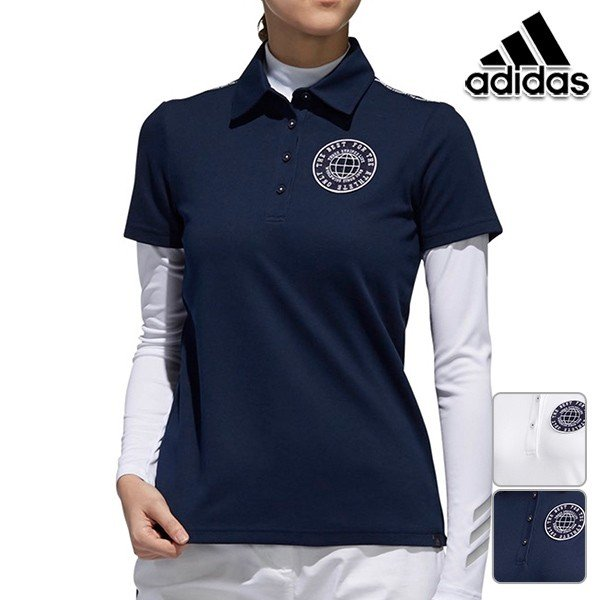 アディダスゴルフ 2019年春夏モデル レディース 半袖 シャツ エンブレム レイヤードシャツ 2枚セット adidas golf【19】ゴルフ fvf00